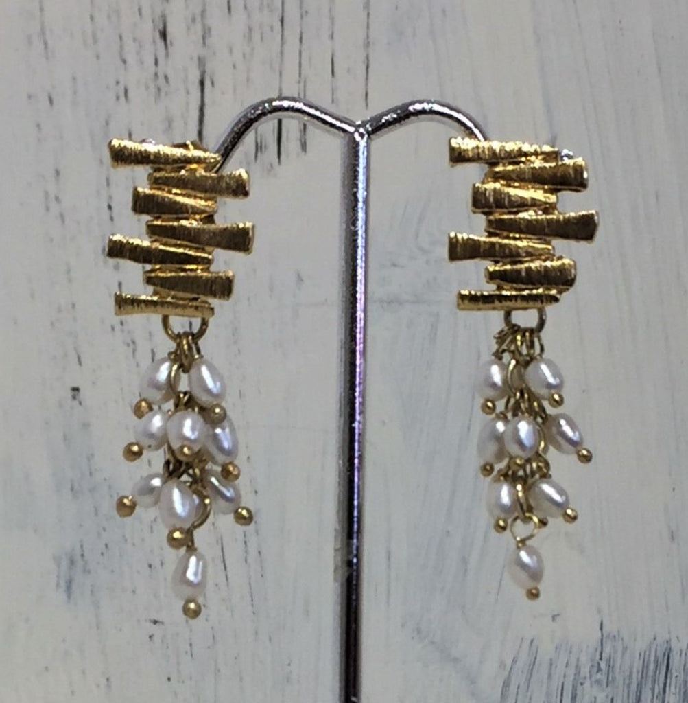Brazilian Earrings with Fresh Water Pearls & Gold Bars