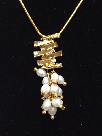 Brazilian Pendent Necklace with Fresh Water Pearls & Gold Bars