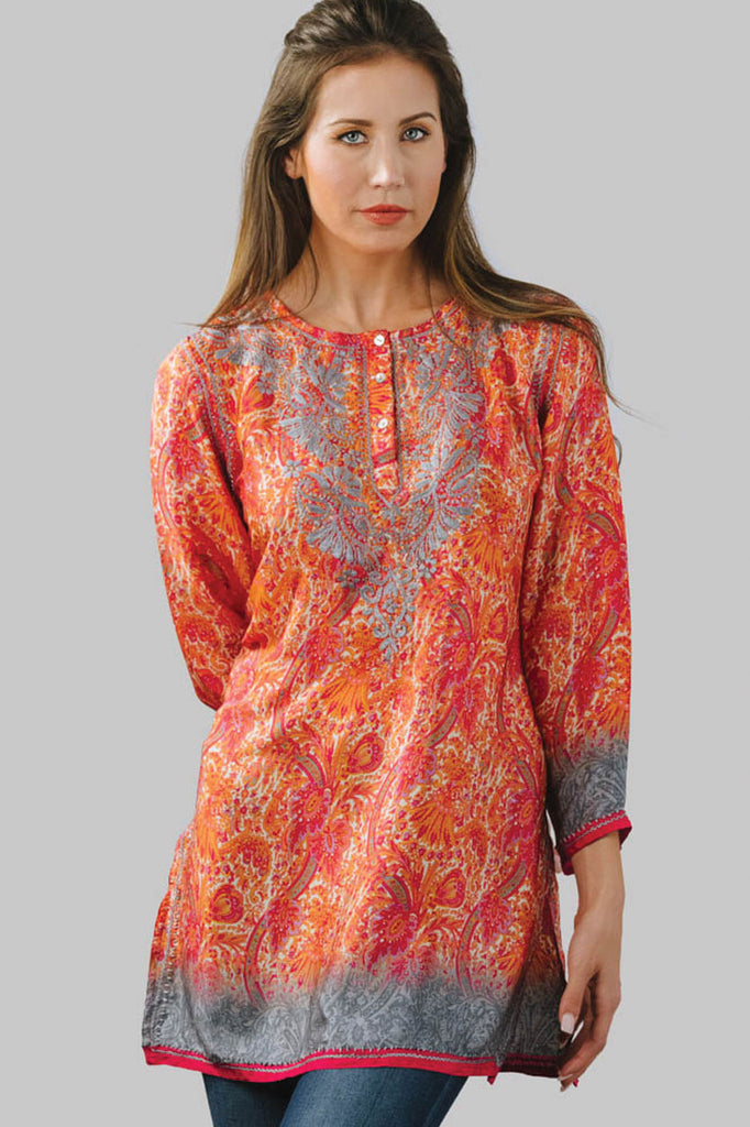 Tunic Orange and Silver Silk