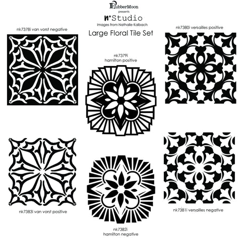 Rubbermoon Large Floral Tile Set