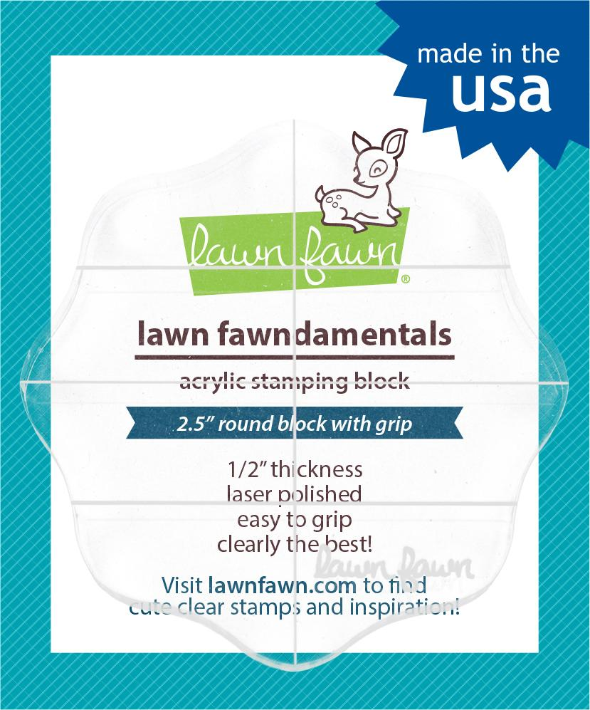 Lawn Fawn Acrylic Blocks 2.5 Round with Grips & Guidelines