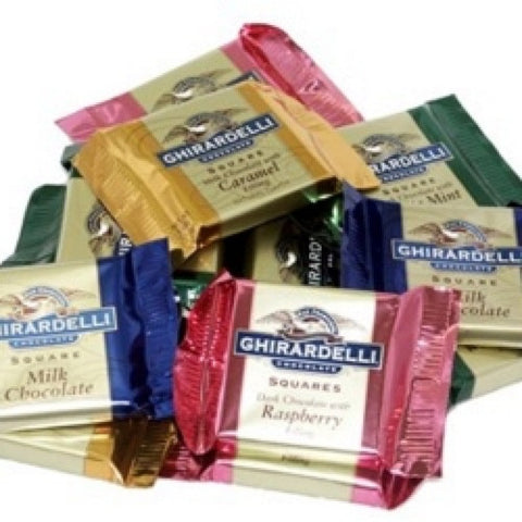 Get a selection bag of 5 different flavours of Ghirardelli chocolate filled squares. This collection features Milk Chocolate Sea Salt Brownie, Intense Dark Chocolate Sea Salt & Roasted Almonds, Milk Chocolate Caramel, Milk Chocolate, 72% Dark Chocolate! Great gift for a chocolate lover of a brand not available to the UK market!