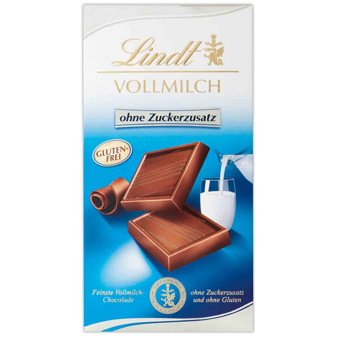 Lindt Milk Chocolate - 100g Bar - No Added Sugar Gluten Free