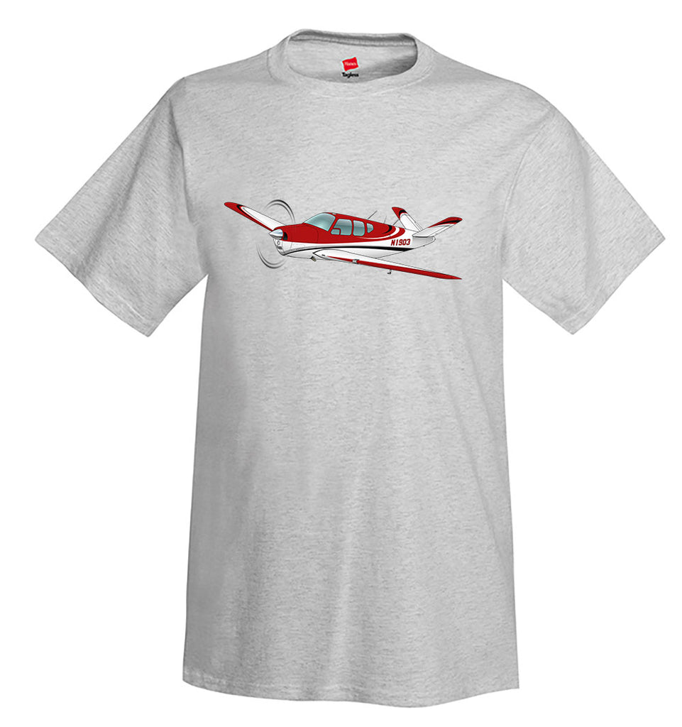 Airplane T-Shirt (Red/Silver/Black) AIR2552FEC35-RSB1- Personalized w/ Your N#