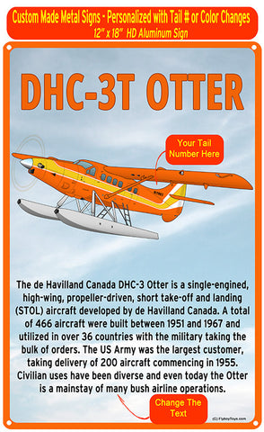 De Havilland DHC-3T Otter HD Metal Airplane Sign - Orange/Yellow
