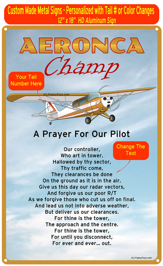 Aeronca Champ (Red/Gold) HD Airplane Sign - A Prayer for our Pilot