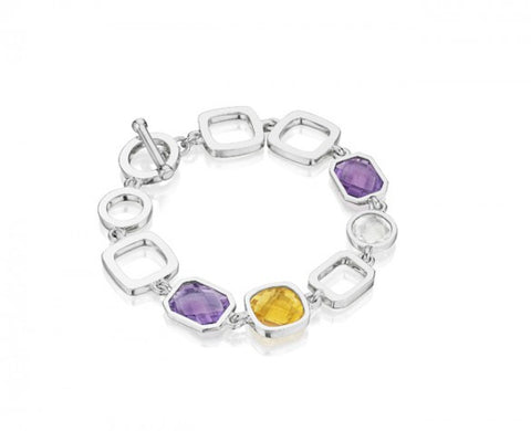 8 inch Etoiles Link Bracelet in Sterling Silver with Faceted Amethyst, Citrine and White Topaz and Toggle Closure