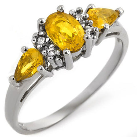 1.33ct Natural Yellow Sapphire and Diamond Ladies Ring