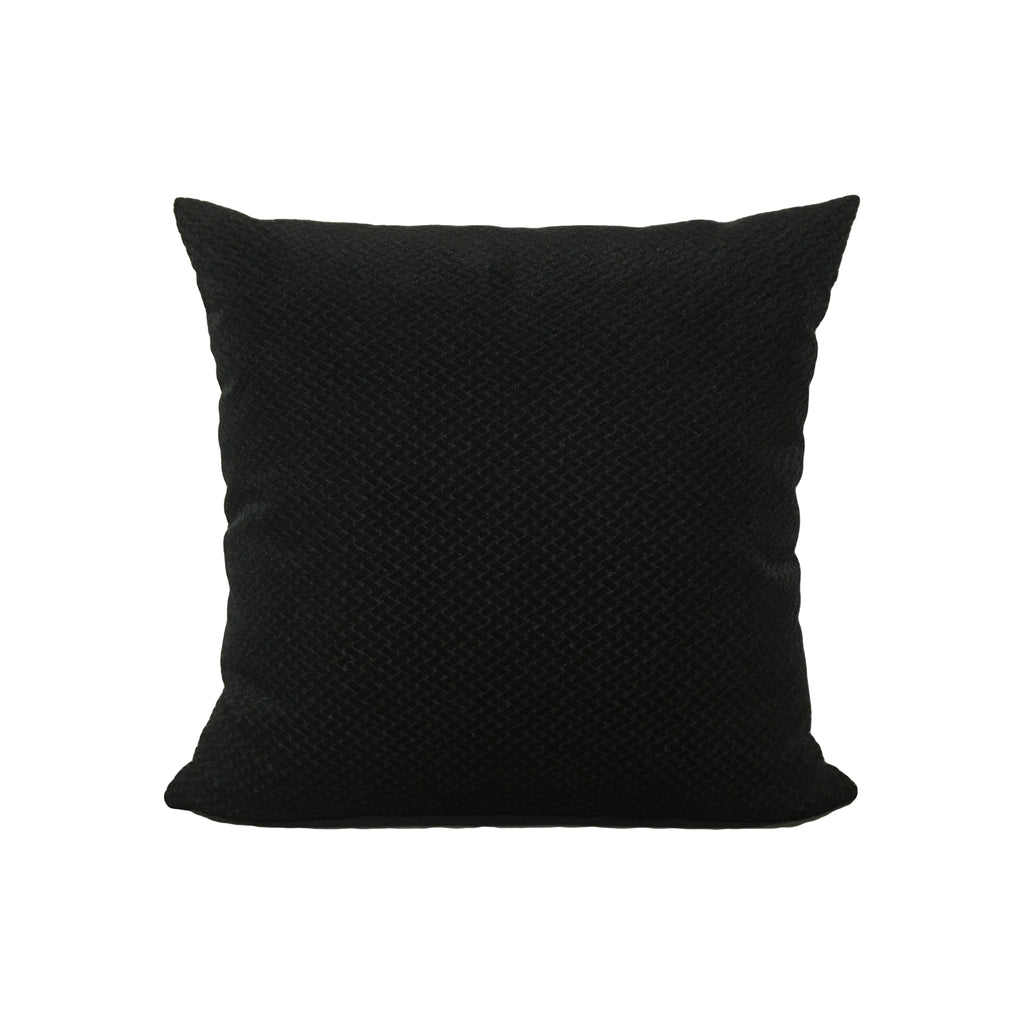 Basketweave Velvet Black Throw Pillow 17x17""