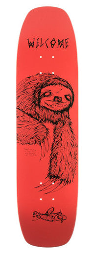 Welcome Sloth Wormtail Skateboard Deck Coral Pink