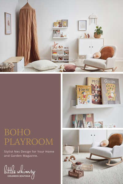 Boho playroom inspiration from little whimsy children's boutique
