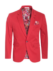 Red Cotton-Stretch Fashion Blazer (1720)