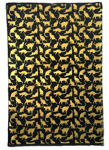 Handmade Lokta Paper - Cats Gold on Black