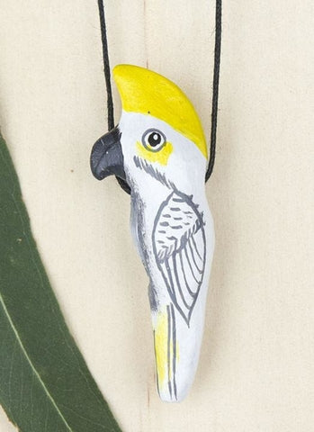 Songbird Whistle Necklace - Sulphur Crested Cockatoo