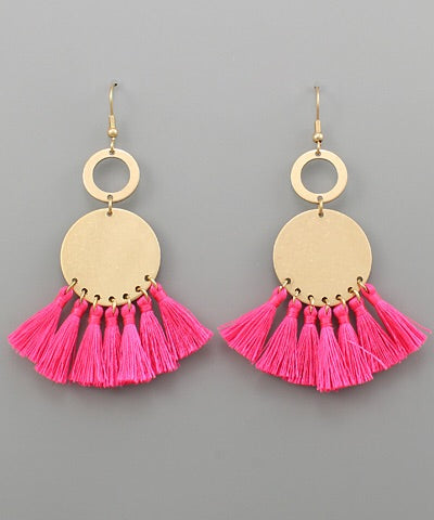Stella Disc and Tassel Earrings