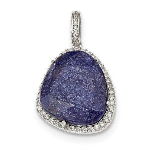 Blue Corundum And CZ Pendant