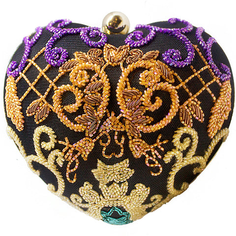 Multi-Colored Baroque Heart Clutch