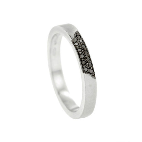 Blitz Platinum 3mm Ring with Black Diamonds