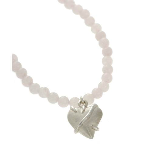 Entwine Silver Heart on Rose Quartz Bead Necklace