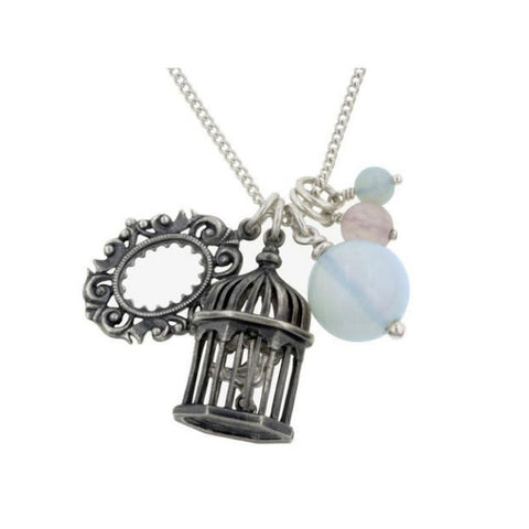 Vintage Picture Frame and Birdcage Silver Charm Necklace
