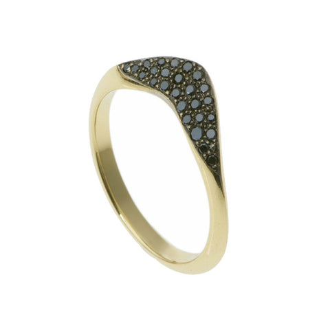 Collette 18ct Yellow Gold Wedding Ring with Black Diamonds