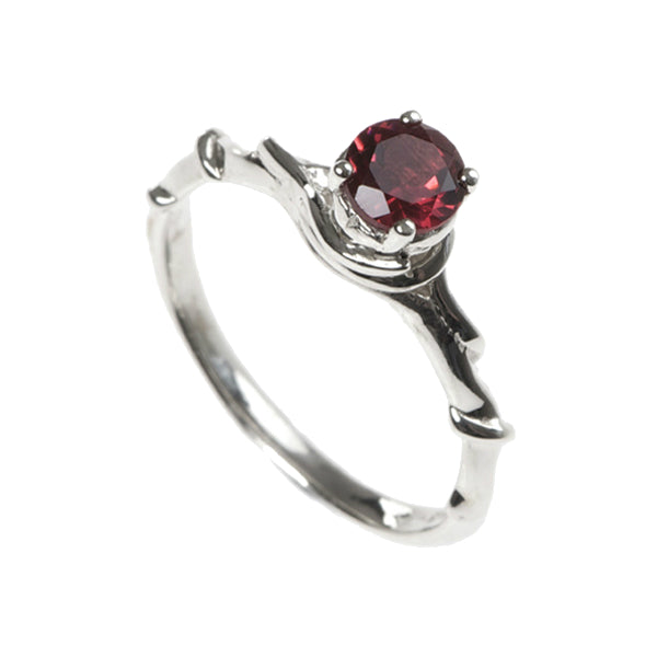 Entwine Silver Ring with Garnet