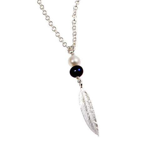Feathers Silver Necklace with Peacock Pearl Drop