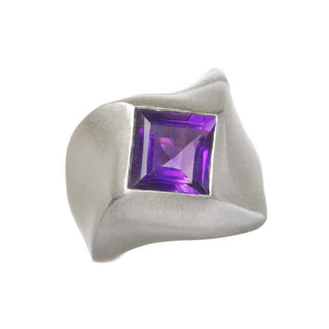 Abstract Heavy Silver Ring with Square Amethyst or Garnet
