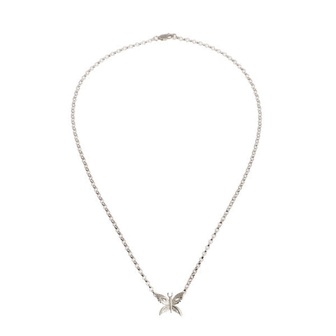 Naturist Silver Tiny Butterfly Necklace