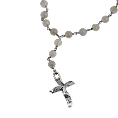 Libertine Labradorite Rosary Cross Necklace