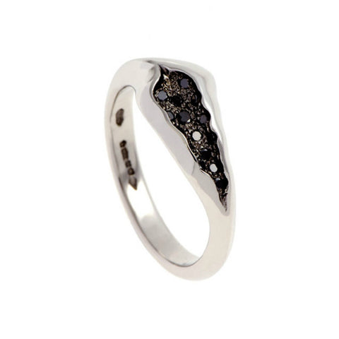 Triffid Platinum VR6 Off-Centre Black Diamond Ring