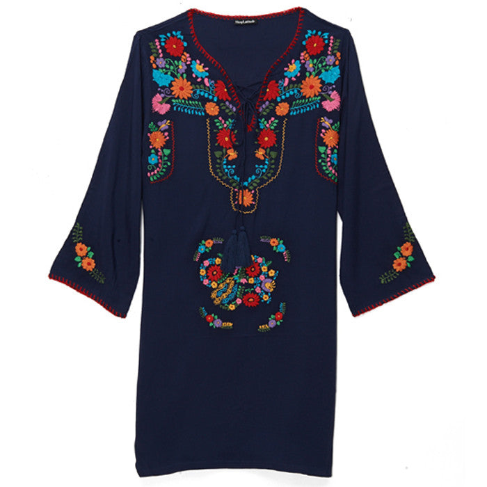 Navy & Multicolored Embroidered Tunic Dress