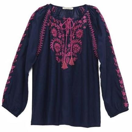 Navy & Pink Cotton Indian Embroidered Blouse