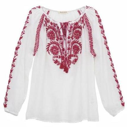 White & Magenta Cotton Indian Embroidered Blouse