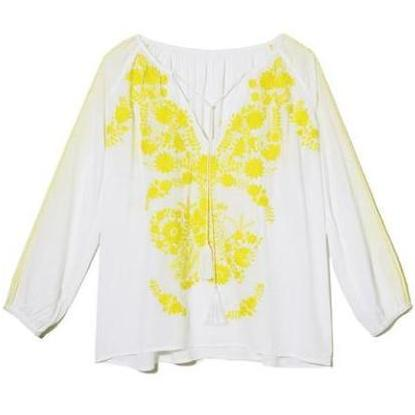 White & Yellow Rayon Mexican Embroidered Blouse