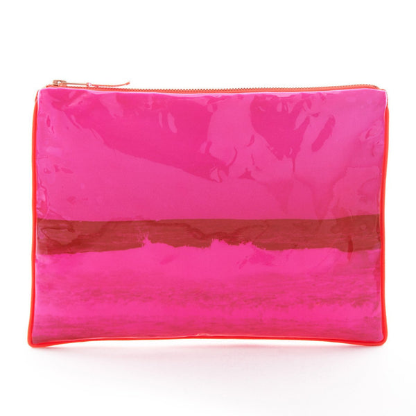Pink Plastic Coated Tulum Wave Pouch