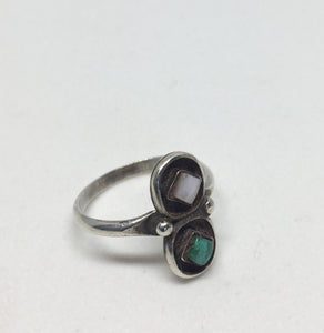 Vintage Silver Navajo Mother of pearl Turquoise Ring