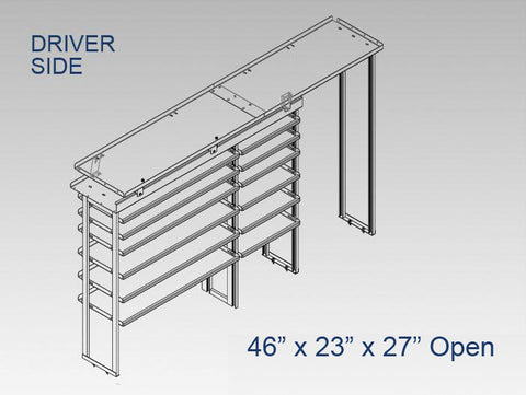 "Driver Side Alum. Kit - 46"" x 23"" x 27"" Open"