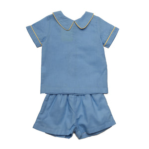 Todd Blue with Yellow Piping Set - Noa & Vivi Kids Apparel