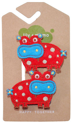 Little Hippo Hair Clip in Red and Blue - Noa & Vivi Kids Apparel