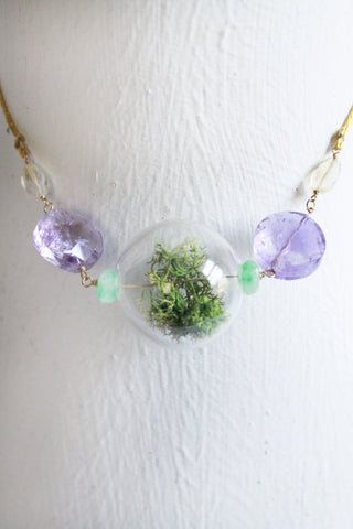 Acadia Long Terrarium Necklace with Amethyst Stones