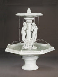 Three Graces Tiered Outdoor Fountain With Octagon Bowl, Large Outdoor Fountains - Outdoor Fountain Pros