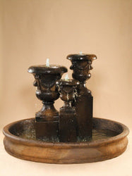 "Venetian Urns Cast Stone Outdoor Fountain in 74"" Basin, Urn Outdoor Fountains - Outdoor Fountain Pros"