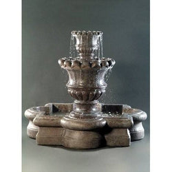 Scallop Urn Outdoor Fountain with Quatrefoil Basin, Urn Outdoor Fountains - Outdoor Fountain Pros