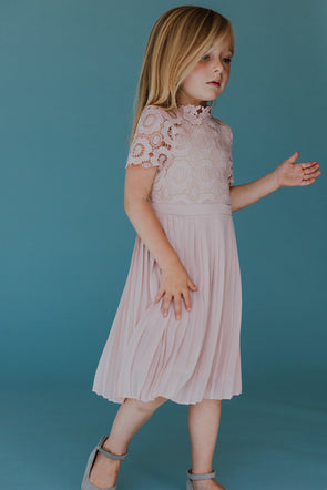MINI Short Sleeve Arabella Lace Dress in Light Blush