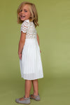 MINI Short Sleeve Arabella Lace Dress in White