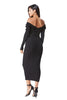 THE MYSTYLEMODE BLACK KNIT RIBBED OFF THE SHOULDER MIDI DRESS