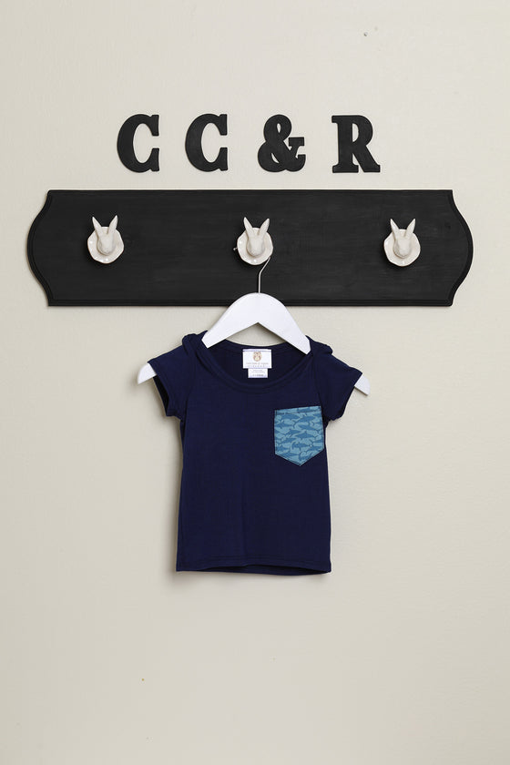 kids short sleeve tee navy shark print
