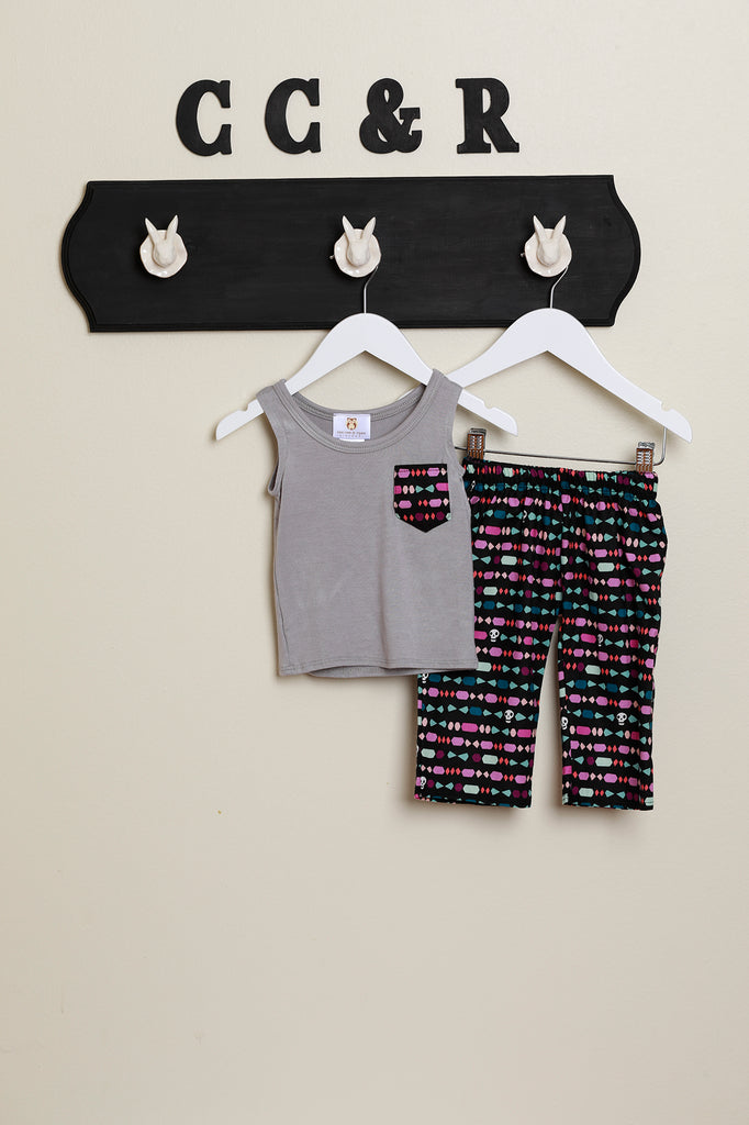 Grey Muscle Tee with skull candy pant
