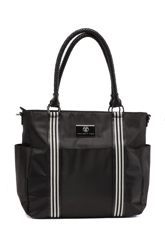 Black with white strips classy Designer Baby Top selling trendy Diaper bag Carryall Tote